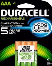 4 AAA Duracell Long Life Ion Core Rechargeable Batteries NiMH Brand New