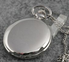 Smooth Silver White Full Hunter Pocket Watch Pendant Necklace Quartz Chain