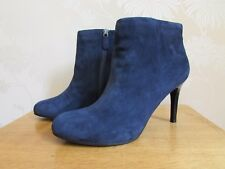 Women Ankle Boots U.K 6 39.5 Navy Blue Suede Leather M&S Autograph Stiletto BNWT