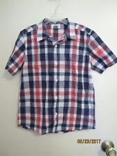 EUC Old Navy Boys Orange Blue Plaid Short Sleeve Shirt w/ Pocket Button Down 6/7