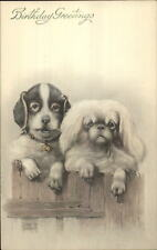 Sweet Dogs on Fence - Pekingese? Artist Signed Lithograph - Birthday Postcard