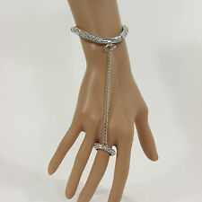 Women Silver Metal Hand Chain Fashion Narrow Bracelet Slave Ring Rhinestones Fun