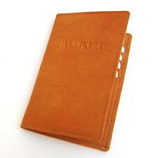 TAN INTERNATIONAL PASSPORT 100% COWHIDE LEATHER COVER Travel Card Case Wallet
