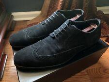 HUGO BOSS Size 12 MATANO Black Suede Wingtip Oxfords Shoes