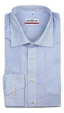 Mens Shirt Marvelis Modern Fit White Blue Geo Easy Iron 100% Cotton Long Sleeve