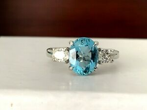 1.86 carat Natural OVAL Aquamarine and Diamond Ring GIA Certified