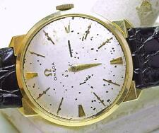 Vintage OMEGA 14k yellow Gold Men's Fancy Lug Wrist Watch 1960's needs TLC