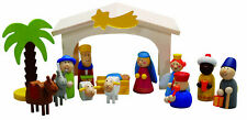 Weihnachtskrippe Set Krippe Spielkrippe Kinderkrippe mit Figuren aus Holz 310-80