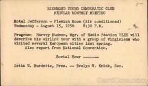 Political Richmond,VA Young Democratic Club Monthly Meeting Virginia Postcard