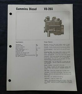 "1966 GENUINE CUMMINS ""V8 265 DIESEL ENGINE"" SPECIFICATION BROCHURE"