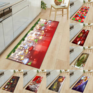 Christmas Santa Anti-slip Kitchen Floor Mat Xmas Home Decor Carpet Rug Doormats