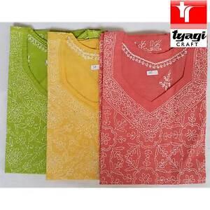 Women Fashion Indian Embroidery Light  Kurti Tunic Kurta Top Shirt Dress