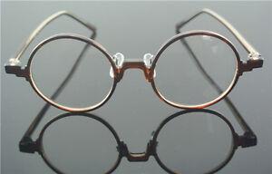 45.70mm Vintage Round Brown Eyeglass Frame Retro Full-Rim Clear Lens Glasses RX