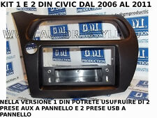PANEL WITH DRAWER WITH 2 SOCKETS USB E 2 AUX 1 Din HONDA CIVIC from 2007