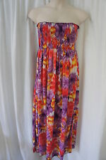 L8ter Dress Sz 2X Purple Coral Multi Color Floral Strapless Summer Party Dress