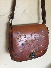 Original Vintage Purse Handbag Tooled Leather By Canale Hippie Hobo Bag Floral