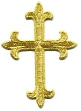 CROSS gold ornate EMBROIDERED IRON-ON PATCH **FREE SHIPPING** christian catholic