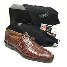 Men's Mezlan Platinum Blackston Oxfords Shoe Size 10.5M Brown Full Crocodile Q15