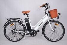 "Myatu C0826 26"" Stadt e-bike Elektrofahrrad Damen Fahrrad - weiß mit Korb 2021"