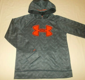 UNDER ARMOUR STORM 1 GRAY PRINT HOODED SWEATSHIRT BOYS LARGE EXCELLENT CONDITION