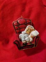 Vintage Teddy Bear Sleeping in Red Chair Christmas Ornament Holiday Bakelite?