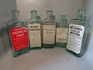 MORGAN MARKET DRAYTON LABELED MEDICINE CHEMIST BOTTLES