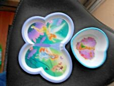 "2 Pc Tinkerbell Butterfly Shaped Plate and Heart Shaped Bowl 1.25""  Deep"