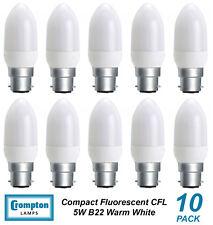 10 x 5W B22 Compact Fluorescent Lamps / Globes / Bulbs 3000K Warm White CFL