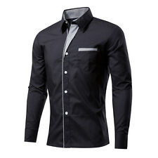 Fashion Mens Casual Shirts Business Dress T-shirt Long Sleeve Slim Fit Tops GIFT