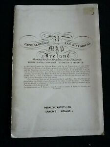 Genealogical and Historical Map of Ireland - Irish / Ulster - Heraldic Artists