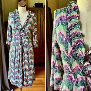 LILLY PULITZER Silk Faux Wrap Multi Color Geometric Long Sleeve Dress SMALL