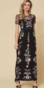 kaleidoscope Black Sequin Maxi Dress Size 14 Was £119 Cruise Event