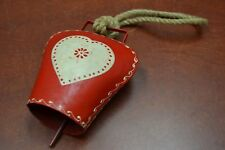 "Handmade Red Heart Rusty Iron Bell With Rope Handler 6"" #F-1070"