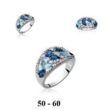 Grosse Bague Rhodié T52 Pavé de Diamant Cz Bleu Argent Massif 925 Dolly-Bijoux
