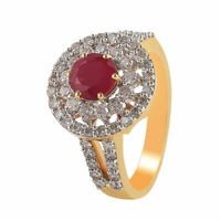 Pave 1,93 Cts Ronde Brillante Couper Diamants Rubis Cocktail Bague En 750 18K Or
