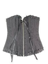 Womens Corset Waist Trainer Bustier Black Front Zipper Size Small Adore Me