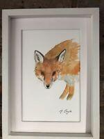 Fox Watercolour Original Signed Art, Vintage, Cottage, Gift