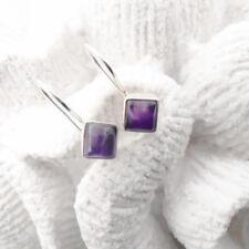 Amethyst eckig lila violett Design Ohrringe Ohrhänger 925 Sterling Silber neu