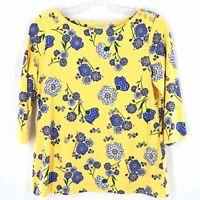 Charter Club Yellow Blue Floral Top Women Size XL