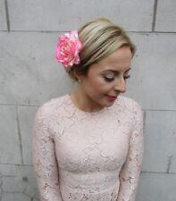 Large Rose Flower Hair Clip or Brooch Vintage 1950s Bridal Prom Rockabilly j99