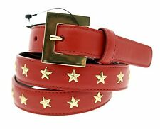 YSL Saint Laurent Belt Goya Superlux Leather With Studs Red Medium New
