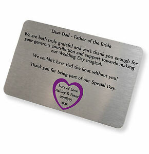 Personalised Brushed Silver Father of the Bride Keepsake Card Wallet Insert Card