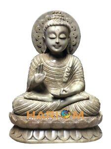"""12 """" Marbre Religieux Fin Bouddha Statue Main Art Beau Domestique Décoratif"""
