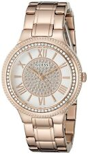 NEW GUESS LADIES U0637L3 ROUND DIAL CRYSTALS STAINLESS ROSEGOLD BAND WATCH