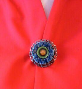 JUNE ANISON NORWICH Vintage 70/80s Brooch Costume Jewellery Silver Tone CERAMIC.