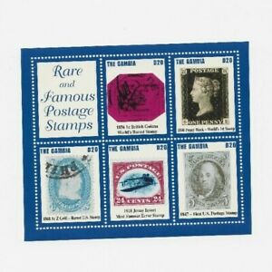 """GAMBIA SS #2871  MNH  F-VF  """"Rare & Famous Postage Stamps"""" 2004 issue"""