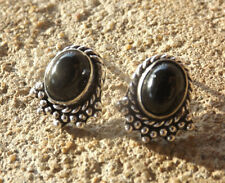Handmade fancy ethnic silver plated stud earrings with black onyx cabochons