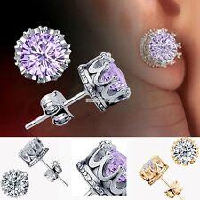 Charm Women Elegant Sterling Silver Rhinestone Crown Ear Stud Earrings S0BZ