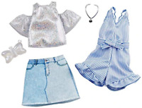 Barbie Clothes: 2 Outfits Doll Include A Sparkly Shirt, Skirt and Romper with Bo