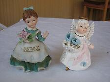 2 vintage Lefton January Figurines-Angel + Birthday Girl